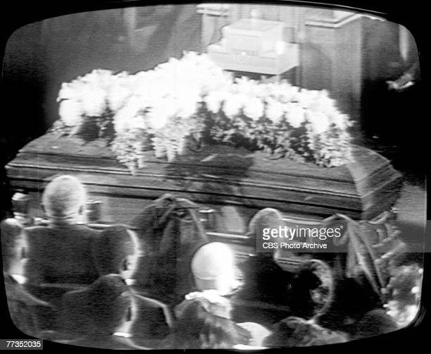 Screen capture from the televised funeral of American Civil Rights and religious leader Martin Luther King Jr which was held at Ebenezer Church on...