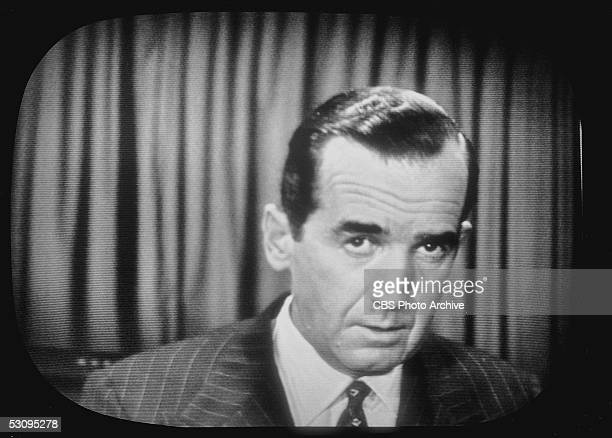 TV screen capture of American journalist Edward R Murrow as he delivers an investigative report critical of US senator Joseph McCarthy on the news...