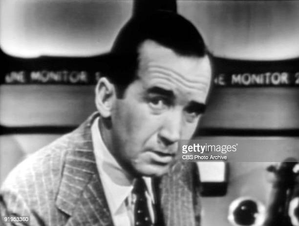 TV screen capture of American journalist Edward R Murrow as he delivers an investigative report on the news show 'See It Now' broadcast on October 20...