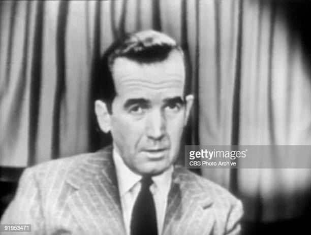 TV screen capture of American journalist Edward R Murrow as he delivers an investigative report on the news show 'See It Now' broadcast on March 16...