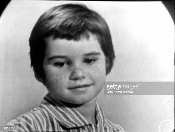 Screen capture shows American child Kathleen Kennedy during an interview on the television show 'Person To Person' September 13 1957 Her parents...