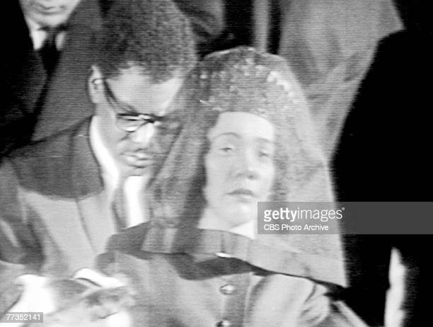 Screen capture shows American Civil Rights activist Coretta Scott King at the televised funeral of her husband Civil Rights and religious leader...