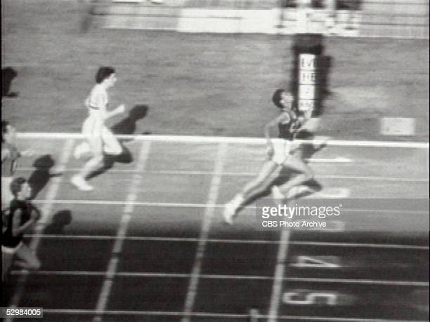 Screen capture shows American runner Wilma Rudolph as she wins the Women's 100m sprint at the Summer Olympics Rome Italy September 2 1960 It was the...