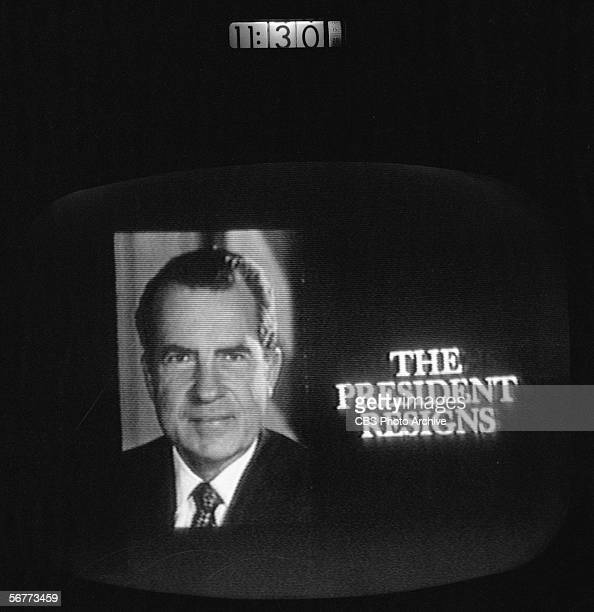Screen capture shows the CBS news coverage of the resignation of American President Richard Nixon August 8 1974 The image is stime stamped at 1130pm...