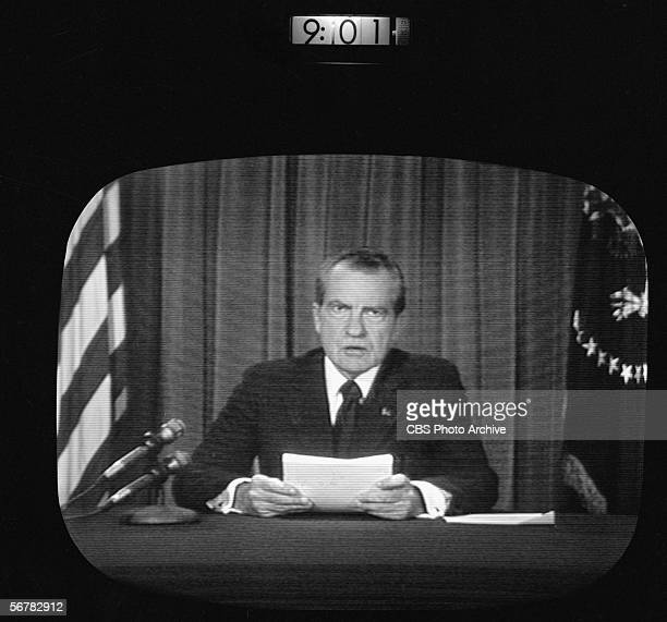 Screen capture shows the CBS news coverage of the resignation of American President Richard Nixon Washington DC August 8 1974 The image is time...