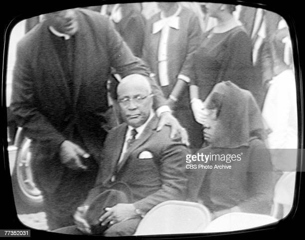 Screen capture shows the Reverend Martin Luther King Sr and his wife Alberta Williams King as the attend the the televised funeral of their son...