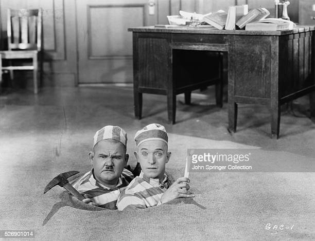 Screen comics Laurel and Hardy in a scene from the 1957 documentary The Golden Age of Comedy