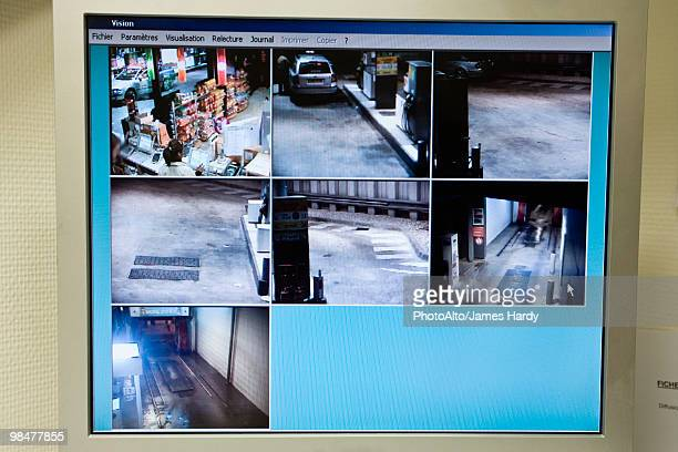 Screen dispaying images captured by surveillance camera