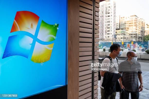 Screen displaying the American multinational technology company, Microsoft Windows logo in Hong Kong.