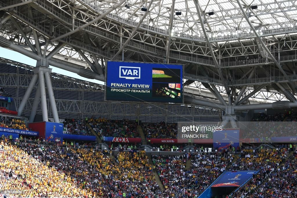 A screen displays a penalty review during the Russia 2018 World Cup Group C football match between France and Australia at the Kazan Arena in Kazan on June 16, 2018. (Photo by FRANCK FIFE / AFP) / RESTRICTED