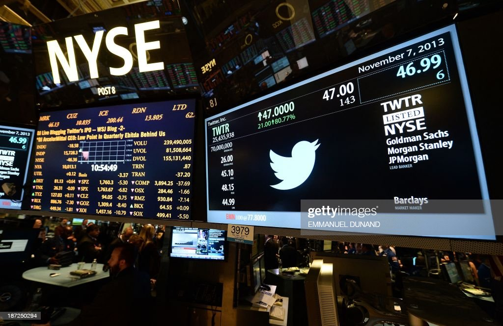 A screen displays a Twitter and share price logo as it starts trading at the New York Stock Exchange (NYSE) on November 7, 2013 in New York. Twitter hit Wall Street with a bang on Thursday, as an investor frenzy quickly sent shares surging after the public share offering for the fast-growing social network. In the first exchanges, Twitter vaulted 80.7 percent to $47, a day after the initial public offering (IPO) at $26 per share. While some analysts cautioned about the fast-changing nature of social media, the debut led to a stampede for Twitter shares. AFP PHOTO/EMMANUEL DUNAND / AFP PHOTO / Emmanuel DUNAND