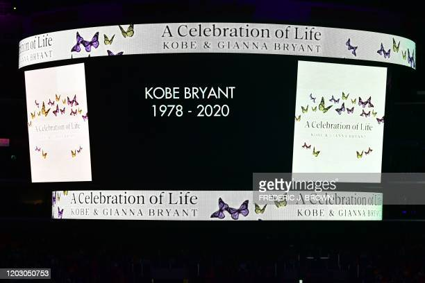 """Screen displays Kobe Bryant's names during the """"Celebration of Life for Kobe and Gianna Bryant"""" service at Staples Center in Downtown Los Angeles on..."""