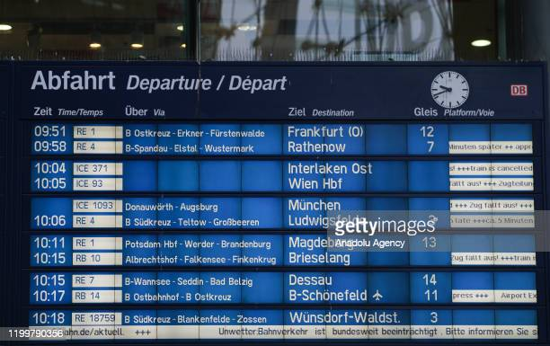 A screen displays the departing trains at Berlin Central Train Station on February 10 2020 in Berlin Germany within delays due to the forecasted...