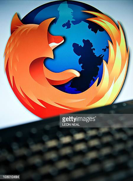 A screen displays the logo of the opensource web browser Firefox on July 31 in London as the software edges towards it's billionth download within...