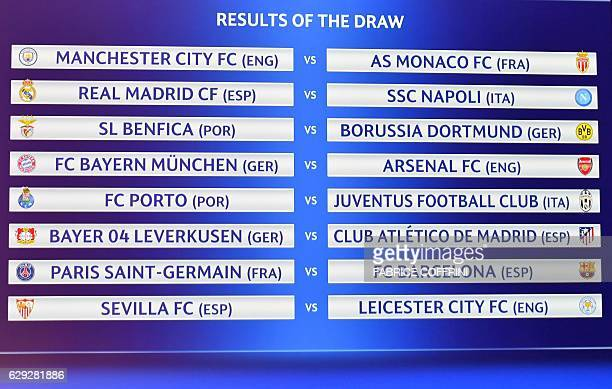 A screen displays the names of the clubs that will be facing each other during the draw for the round of 16 of the UEFA Champions League football...