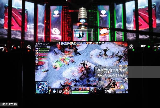 TV screen during Dota 2 Major Final match between Vici Gaming and Virtuspro on February 25 2018 in Katowice Poland