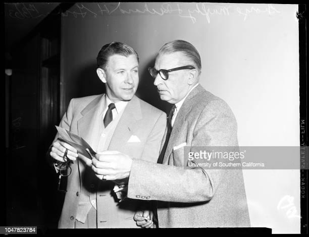 Screen Extras Guild libel suit, 3 December 1953. George Murphy;Richard H. Gordon .;Caption slip reads: 'Photographer: Brunk. Date: . Reporter:...