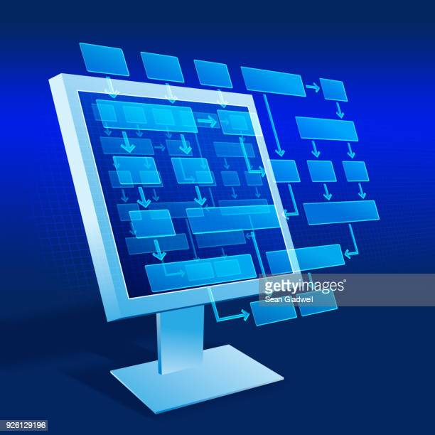 screen flow chart - diagramma di flusso foto e immagini stock