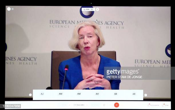 Screen grab from laptop shows Emer Cooke, CEO of the European Medicines Agency , explains the approval of the Pfizer / BioNTech vaccine, during an...