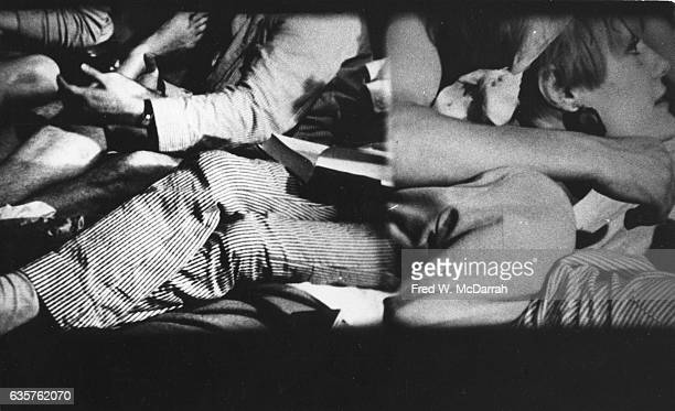 Screen grab of a splitscreen scene from the film 'The Chelsea Girls' during a presentation at the FilmMakers Cinematheque New York New York November...
