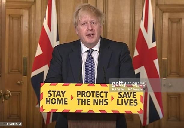 Screen grab of Prime Minister Boris Johnson during a media briefing in Downing Street London on coronavirus