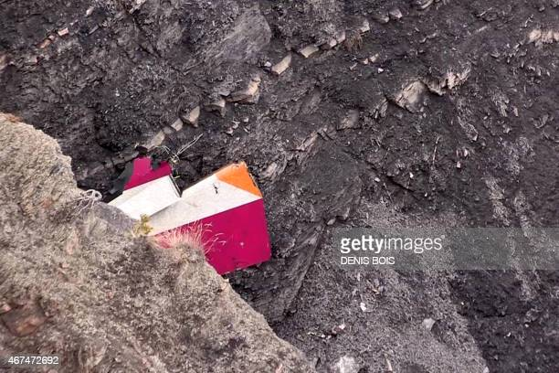 Screen grab taken from an AFP TV video on March 24, 2015 shows part of the vertical stabilizer of the Germanwings Airbus A320 at the crash site in...