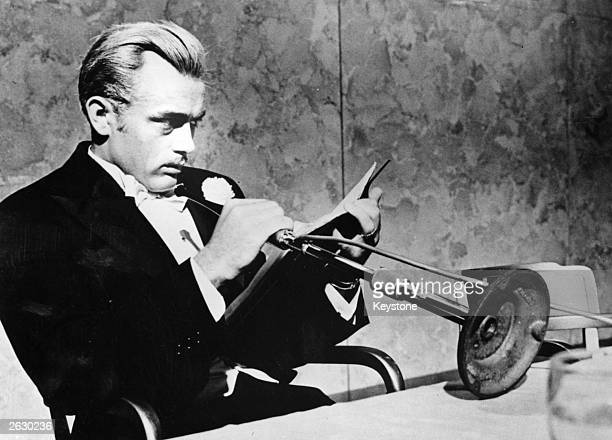 Screen icon James Dean plays aging millionaire Jett Rink in the Warner Brothers film 'Giant' adapted from the novel by Edna Ferber and directed by...