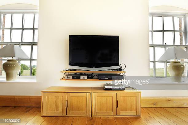 screen in living room - dvd player stock photos and pictures