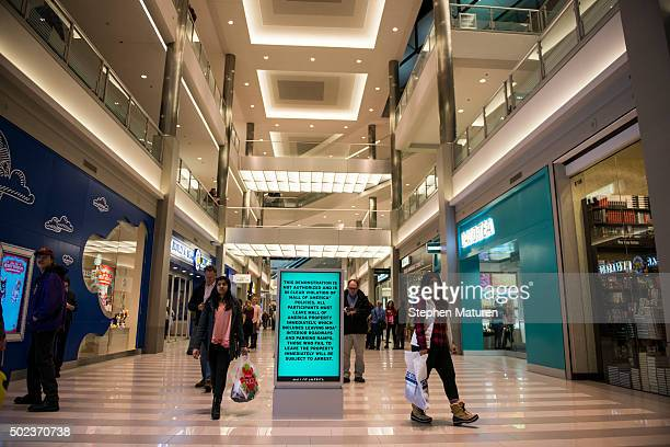 A screen in the rotunda of the Mall of America in Bloomington MN notifies mall goers that unauthorized demonstration is against mall policy on...