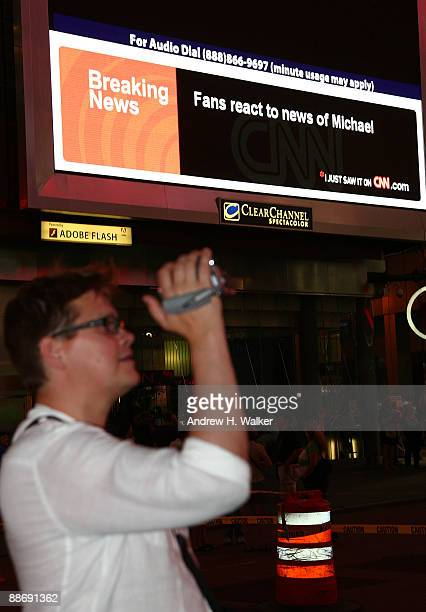A screen in Times Square reports the death of Michael Jackson June 25 2009 in New York City Jackson the iconic pop star died after going into cardiac...