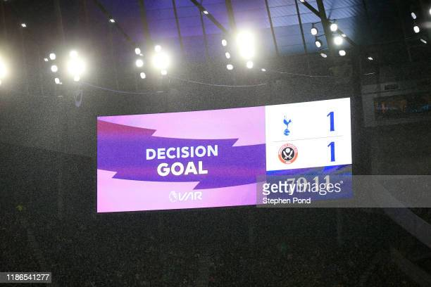 Screen inside the stadium displays a VAR check to a goal scored by George Baldock of Sheffield United during the Premier League match between...