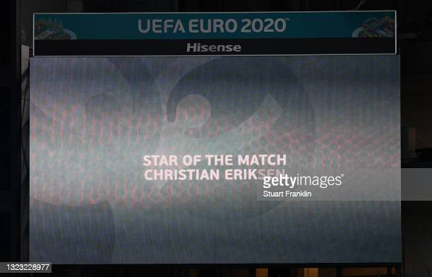Screen inside the stadium displays that the 'Star of the Match Award' had been awarded to Christian Eriksen of Denmark during the UEFA Euro 2020...