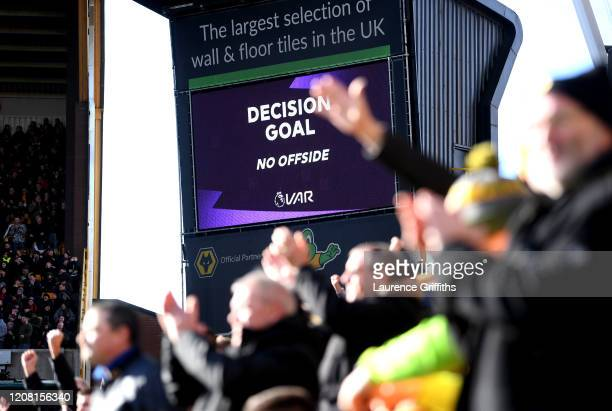 Screen inside the stadium displays the decision to award a goal following a VAR review during the Premier League match between Wolverhampton...