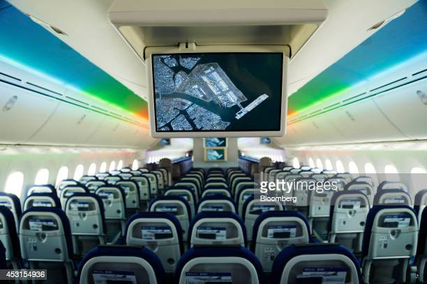 A screen is displayed in a Boeing Co 7879 Dreamliner aircraft operated by All Nippon Airways Co during the unveiling at Haneda Airport in Tokyo Japan...