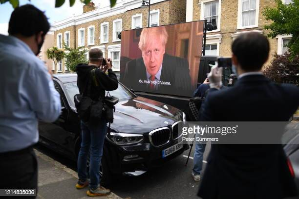 TV screen is installed in the street outside the home of Dominic Cummings Chief Advisor to Prime Minister Boris Johnson by political campaign group...