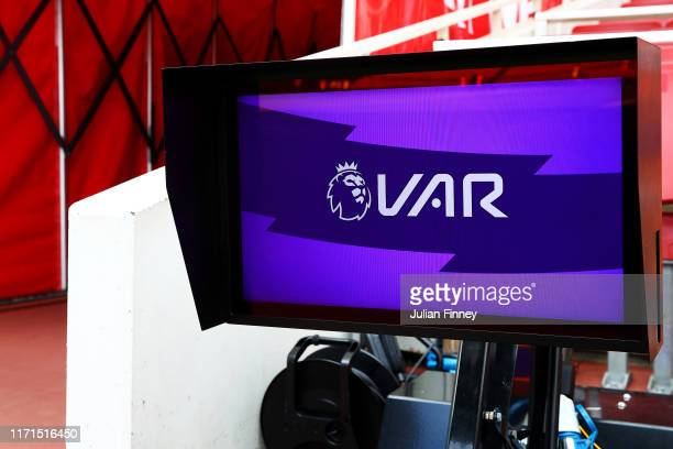 Screen is seen pitch side prior to the Premier League match between Arsenal FC and Tottenham Hotspur at Emirates Stadium on September 01, 2019 in...
