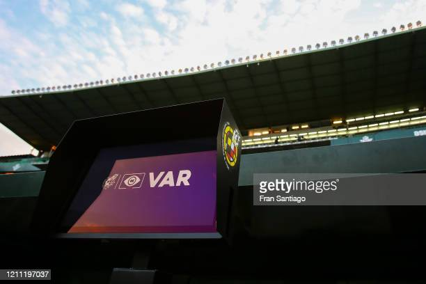 Screen is seen prior to the Liga match between Real Betis Balompie and Real Madrid CF at Estadio Benito Villamarin on March 08, 2020 in Seville,...