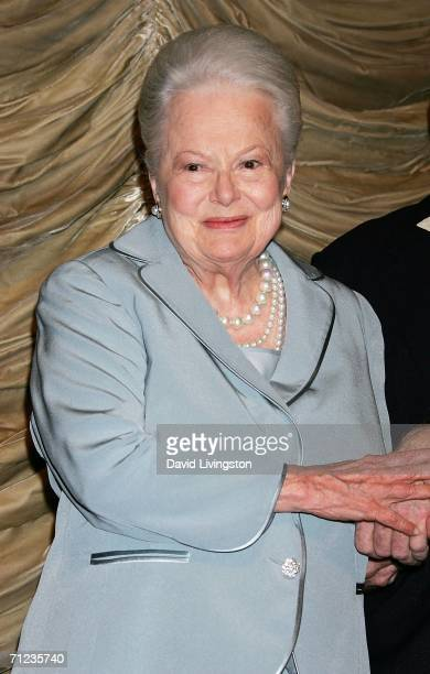 """Screen legend Olivia de Havilland appears on stage prior to the screening of """"The Heiress"""", in which she won the Academy Award for Best Actress in..."""