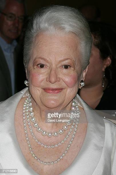 Screen legend Olivia de Havilland attends the Academy of Motion Picture Arts and Sciences' tribute to Ms. De Havilland at the Academy of Motion...