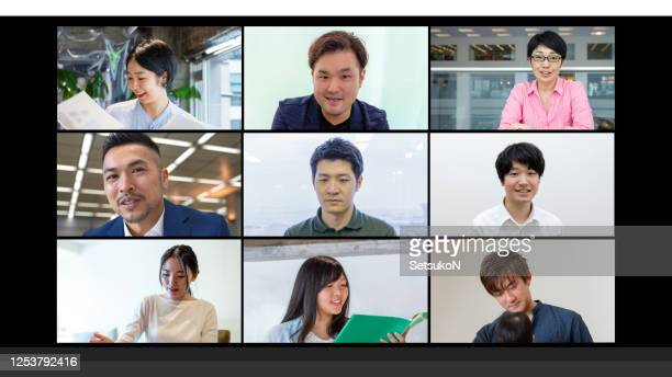 screen of a video conference with nine asian business person. - medium group of people stock pictures, royalty-free photos & images