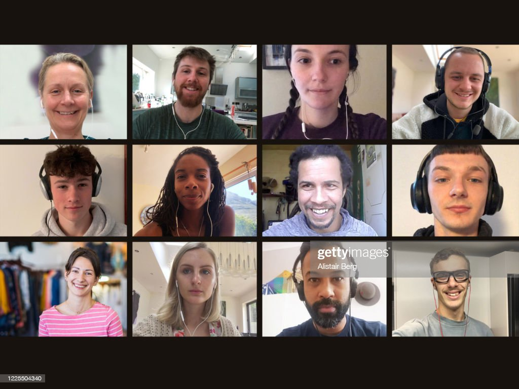 Screen of multiple friends socialising on video call : Stock Photo