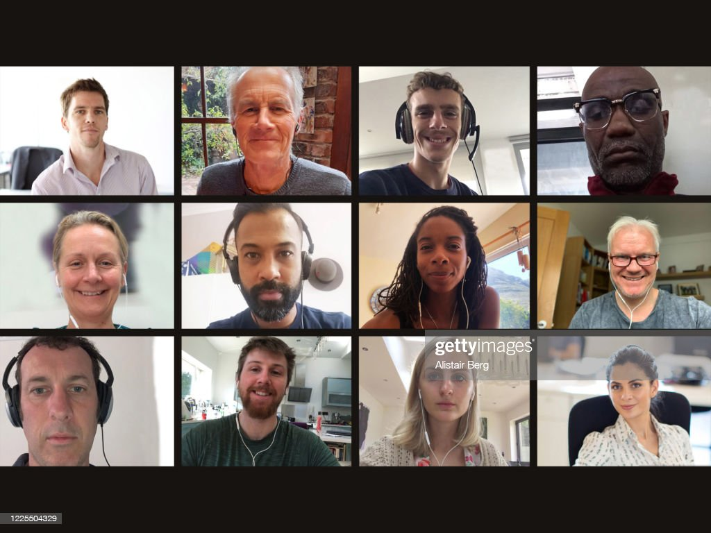 Screen of multiple work colleagues on video call : Stock Photo