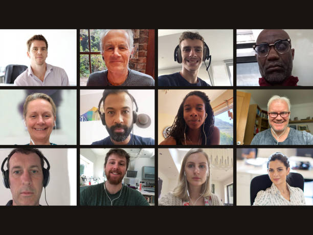 Screen of multiple work colleagues on video call