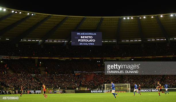 A screen pays hommage to the 1985 Heysel Stadium drama during the friendly international match between Belgium and Italy at Baudoin King Stadium in...