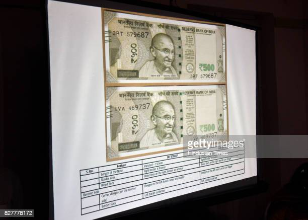 Screen printing of two kinds of 500 rupee notes shown by Congress leader Kapil Sibal to media on August 8 2017 in New Delhi India