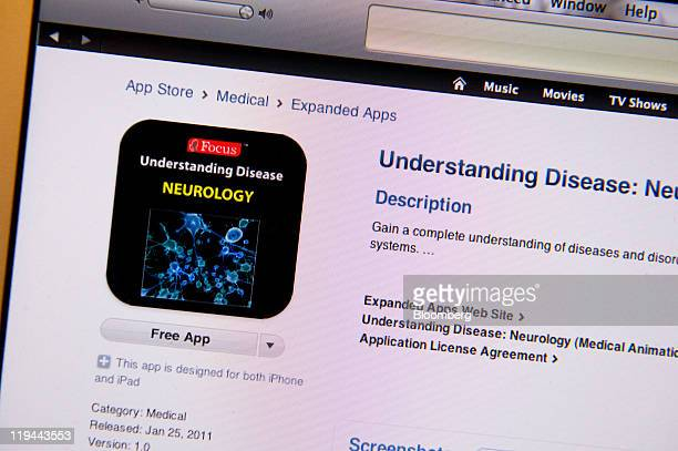 A screen shot of a health care application for Apple Inc's iPad and iPhone is displayed for a photograph in San Francisco California US on Tuesday...