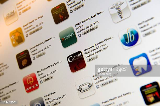 A screen shot of health care applications for Apple Inc's iPad and iPhone is displayed for a photograph in San Francisco California US on Tuesday...
