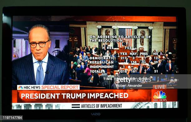 Screen shot of live NBC-TV coverage of the vote to impeach President Donald Trump shows NBC News anchor Lester Holt and the members of Congress as...