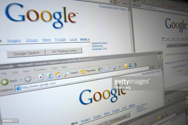 A screen shot of the Google logo taken in London UK is repeated on several windows of its homepage Friday February 10 2006