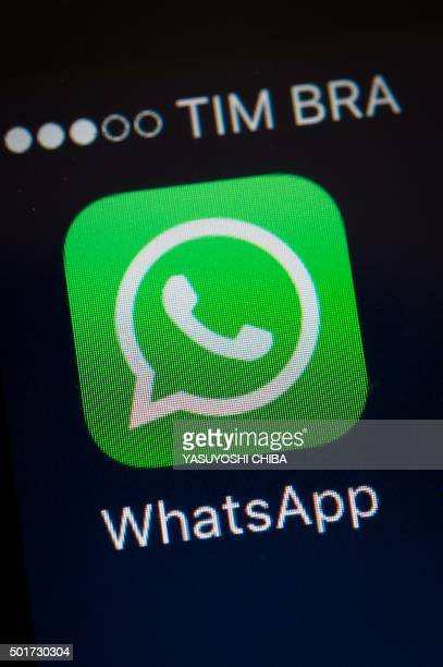 A screen shot of the popular WhatsApp smartphone application is seen after a court in Brazil ordered cellular service providers nationwide to block...